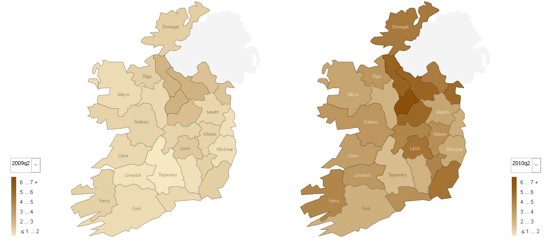 Unemployment and negative equity by county in Ireland