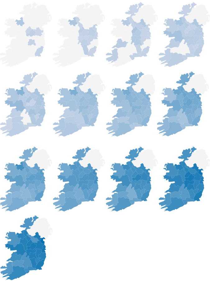 Falls in property prices by county from the peak (%)